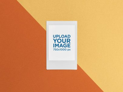 Polaroid Frame Mockup over a Multicolor Surface 26304
