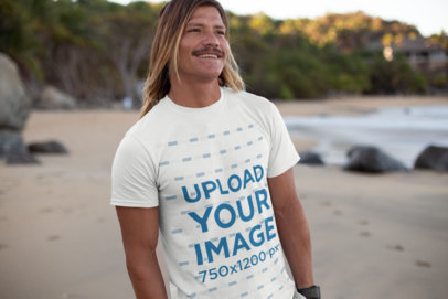 Mockup of a Cool Man Wearing a Tee on the Beach 26834