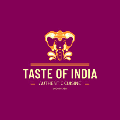 Indian Cuisine Logo Maker Featuring an Elephant Graphic 1830b