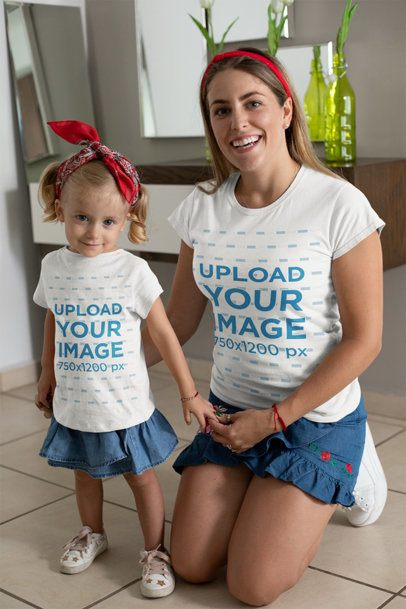 T-Shirt Mockup of a Mommy and Her Daughter Wearing Matching Outfits 26493