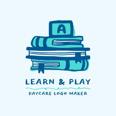Day Care Logo Template with Book Clipart 1927d