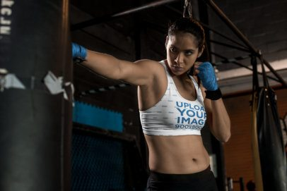 Sports Bra Mockup of a Female MMA Fighter Training 26246