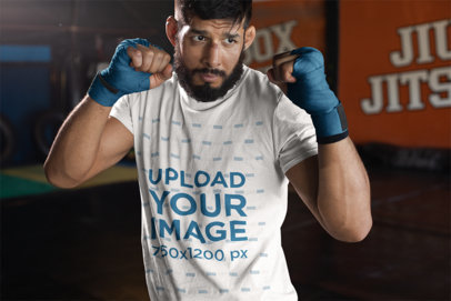 T-Shirt Mockup of an MMA Athlete Preparing for Sparring 26253