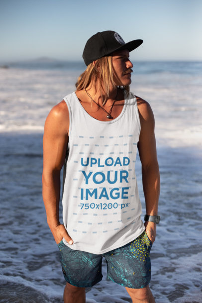 Tank Top Mockup of a Blonde Man with Long Hair and a Cap 26838
