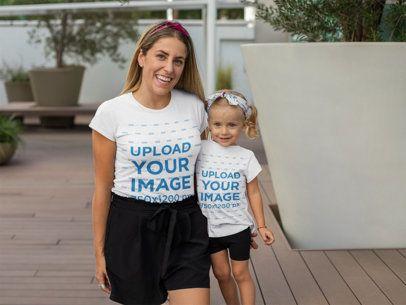 Mockup of a Joyful Mom Next to Her Daughter Having Fun 26498