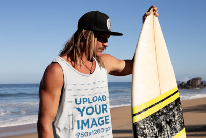 Tank Top Mockup of a Long-Haired Man Beside His Surfboard at the Beach 26845