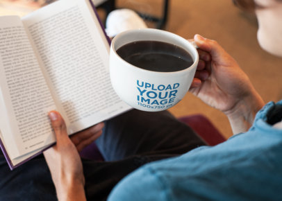 Coffee Mug Mockup of a Woman Reading a Book 26504