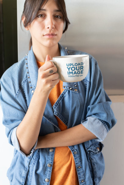 Mockup of a Woman Relaxing with a Big Cup of Coffee 26451