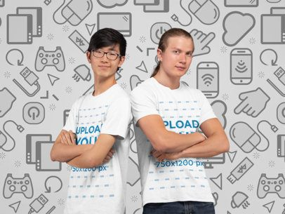 T-Shirt Mockup of Two Gamers in a Studio 26015