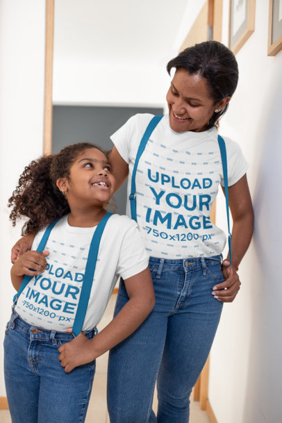 T-Shirt Mockup of a Girl and Her Mommy Wearing Coordinated Outfits 26381