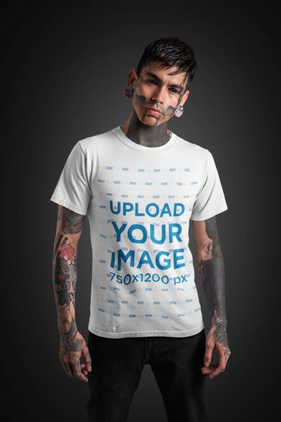 T-Shirt Mockup of a Goth Man with a Skull-Tattooed Face Standing at a Studio 26593