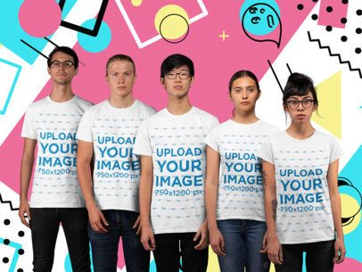 T-Shirt Mockup of a Diverse Group of Gamers Standing Inside a Studio 26000