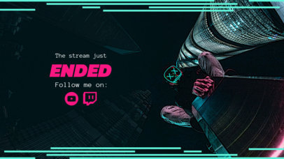 Twitch Overlay Maker for a Stream Ended Screen with Neon Lines 1223a
