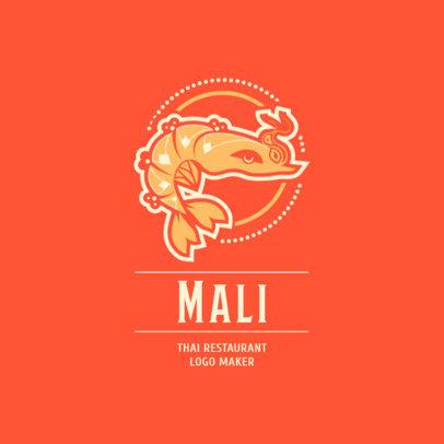 Thai Restaurant Logo Generator with Shrimp Clipart 1837c