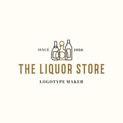 Simple Liquor Store Logo Maker with Wine Bottle Graphics 1813a
