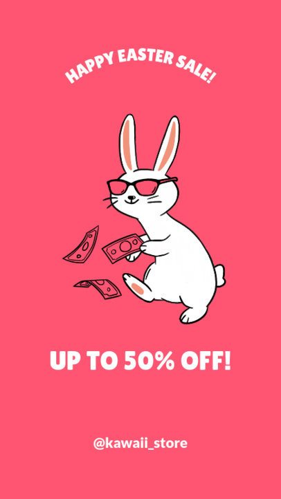 Instagram Story Maker for an Easter Day Sale with a Funny Bunny Graphic 1044f
