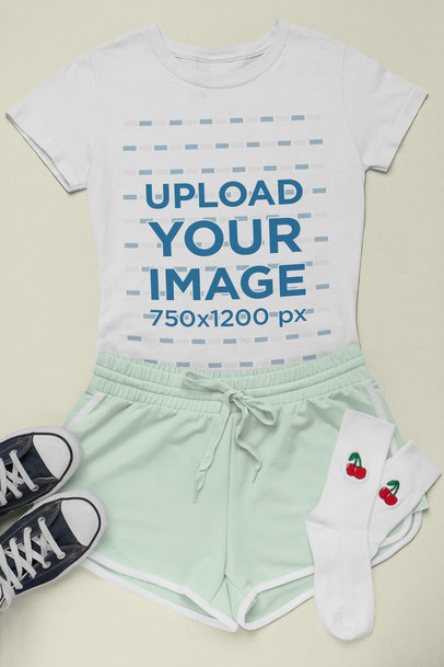 T-Shirt Mockup of a Sporty Outfit in Flat Lay 26390
