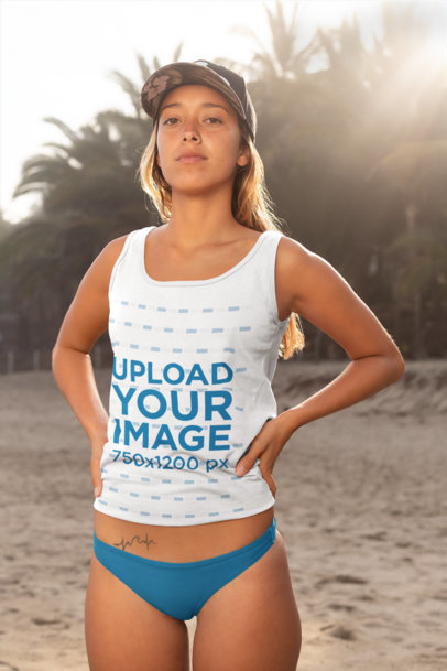 Mockup of a Woman Wearing a Casual Tank Top at the Beach 26836