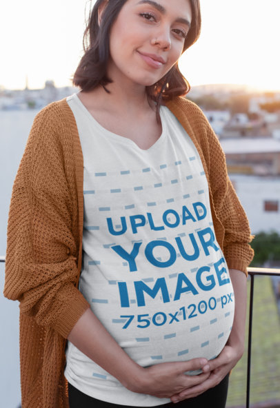 Tee Mockup of a Pregnant Woman Standing in a Balcony 26678