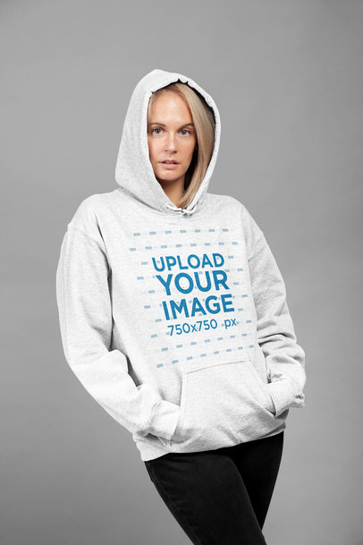 Mockup of a Woman Wearing a Heather Hoodie at a Studio 23943