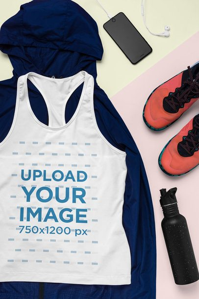 Mockup of a Racerback Tank Top Featuring a Sporty Outfit 26408