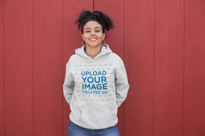Heather Hoodie Mockup of a Smiling Woman with a Kinky Curly Ponytail 23966