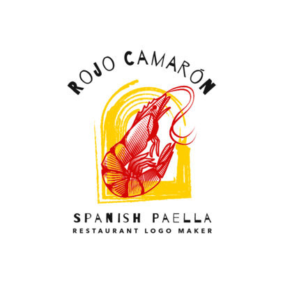 Spanish Food Restaurant Logo Maker with Shrimp Clipart 1925b