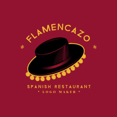 Spanish Cuisine Logo Maker with a Flamenco Hat Clipart 1925e