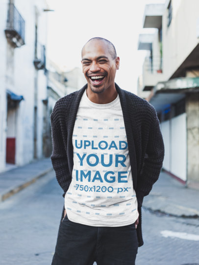 Mockup of a Laughing Man Wearing a Heathered T-Shirt 23952