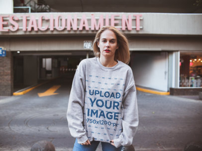 Mockup of a Blonde Woman Wearing a Heather Sweatshirt 23995