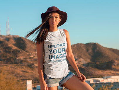 Woman Modeling in the Desert Tank Top Mockup a7825