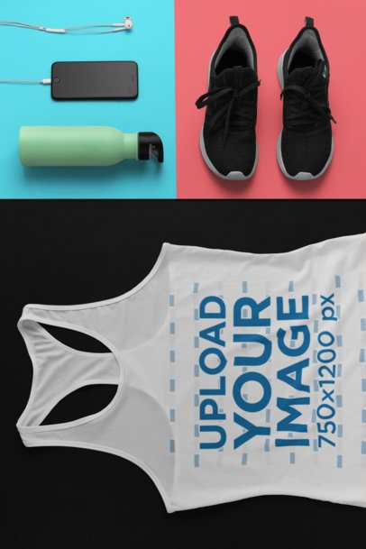 Mockup of a Sporty Racerback Tank Top Outfit 26552