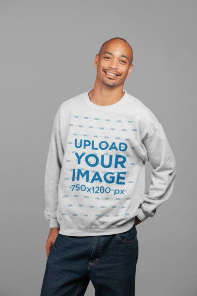 Mockup of a Friendly Man Wearing a Heather Sweatshirt at a Studio 23951