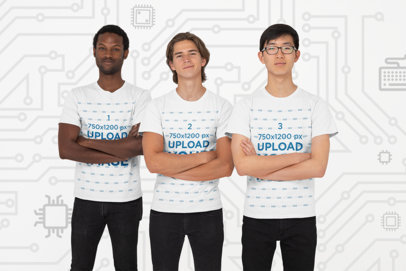 T-Shirt Mockup Featuring an Interracial Team of Gamers 26400