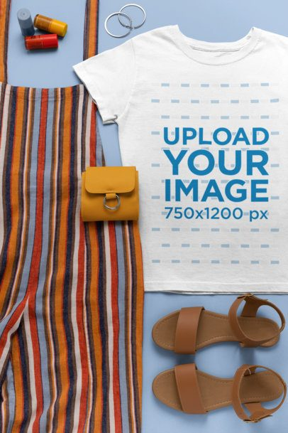 T-Shirt Mockup Featuring a Fun Hipster Outfit 26554