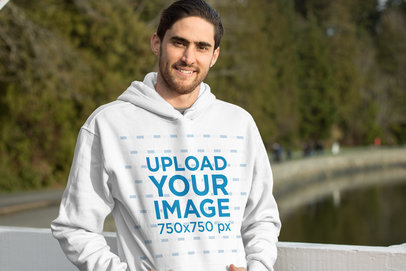 Mockup of a Bearded Man Wearing a Pullover Hoodie 25104