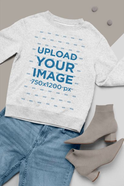 Flat Lay Mockup Featuring a Heathered Crewneck Sweater with a Trendy Outfit 26342