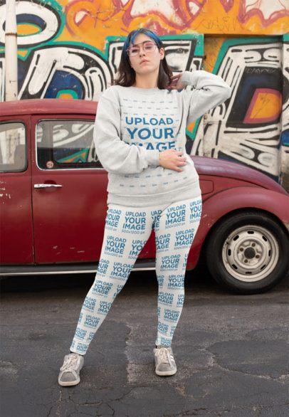 Mockup of a Daring Woman Wearing Leggings and a Sweatshirt 25006