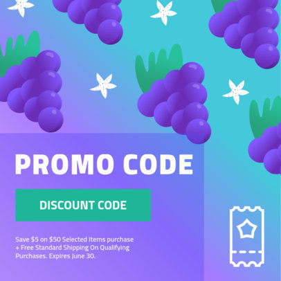 Promo Code Coupon Maker Featuring Grapes Clipart 1010d