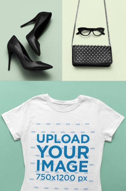 Flat Lay Mockup of a Tee with Heels and Accessories 26558