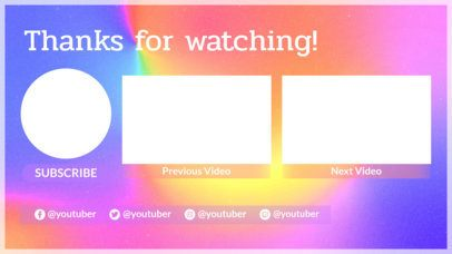 YouTube End Screen Template With Dreamy Colors 1259