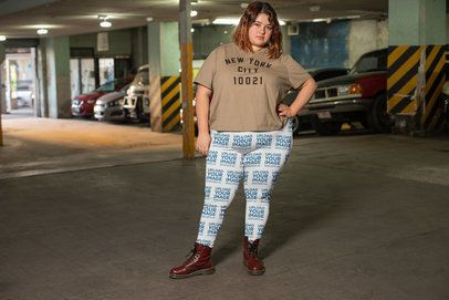 Mockup of a Red-Headed Girl Wearing Plus Size Leggings in a Parking Lot 24914