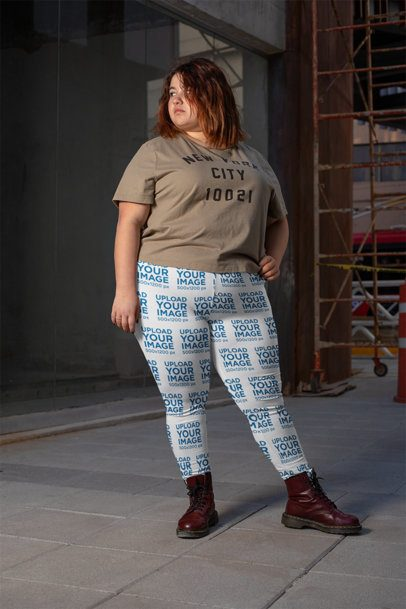 Mockup of a Bold Woman Wearing Plus Size Leggings 24906