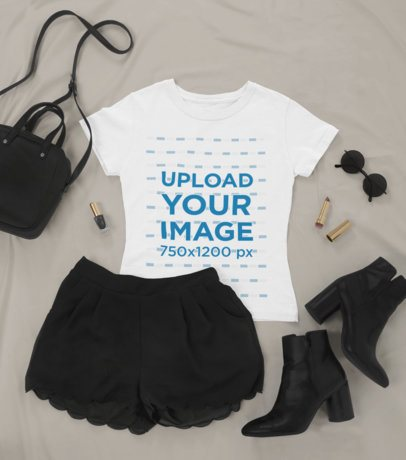 Outfit Mockup Featuring a T-Shirt with a Skirt and Low Boots 26339