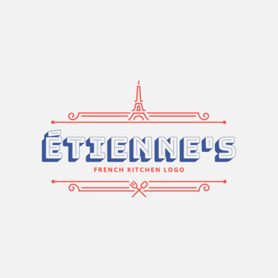 French Kitchen Logo Maker Featuring a Minimalistic Frame