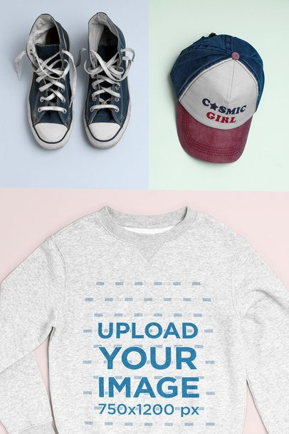 Casual Outfit Mockup of a Crewneck Sweatshirt Styled with a Cap and Old Sneakers 26407
