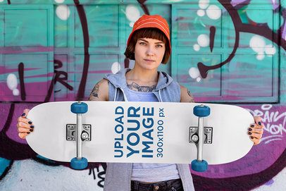 Mockup of a Rad Woman Holding a Skateboard 27111