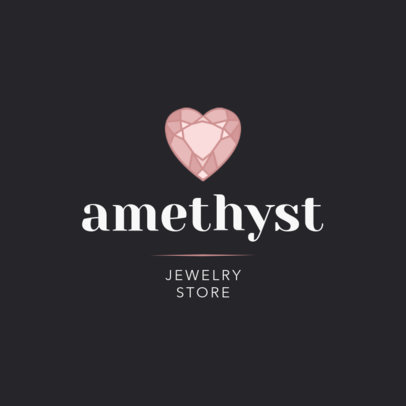 Jewelry Store Logo Template Featuring a Heart-Shaped Jewel 2191e