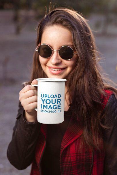 21 Oz Enamel Mug Mockup Featuring a Woman with Sunglasses 26928