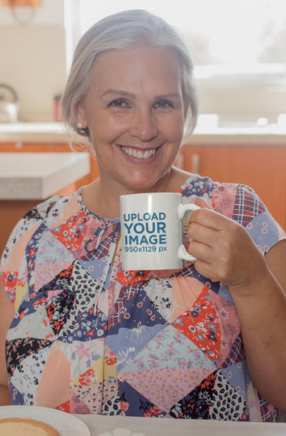 Mockup of an Older Woman Posing with Her 11 Oz Mug 27452